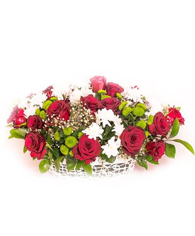 Снимка от Кошница с рози и хризантеми - Благодарност