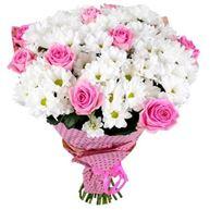 Снимка от Букет с рози и хризантеми Красив
