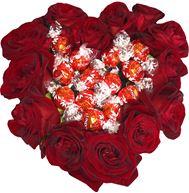 Снимка от Сърце с рози Обич и бонбони Lind - 15 рози и 15 бонбона