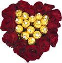 Снимка от Сърце с рози Обич и бонбони Ferrero Rocher - 15 рози и 15 бонбона